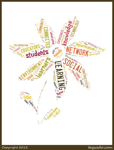 "My students would find it no surprise to see yet another word cloud in this reflection. I love word clouds! They are such a creative, versatile tool that can be used for fun, nonsense, and also as a writing tool like summarizing key concepts. This Tagxedo word cloud may not look like much, but let me assure you it represents hours (DAYS!), sweat, and tears. It also represents a newly grown knowledge within me, which is really what it's about in the first place.  Specifically, this is a visual representation of my 2852-word synthesis paper draft for EdTech 504. I'll spare you the math: that's 8 dense, heavy, scholarly pages, not including 2.5 pages of peer-reviewed references. I don't think I've ever written a paper that includes so-far 21 references. Wow.  It's not called a synthesis paper for nothing. To synthesize is to combine, sort through, fuse, and otherwise make sense of a lot of information. I have read dozens of scholarly journals, articles, blog posts (which aren't peer re-viewed but provide interesting context), and eBooks. I've scoured the APA Style Guide and become good friends again with Zotero. This is not light reading, by the way, about tools and apps. This is heavy stuff that includes words I knew little about before starting this course, words like constructivism, connectivism, taxonomy, and epistemology.  Yet, 2852 words later, I have a much better handle on the information. In fact, what was so utterly confusing and aggravating when I was in the thick of it, actually makes sense. I think I get it, at least as it pertains to my focus. Here's the plain English: More and more teachers are using VLE social network learning sites such as  Edmodo, Schoology, Moodle, Blackboard, and Canvas. These sites provide a controlled environment where teachers and students interact, post and submit homework, give and receive feedback from their peers, and link to course resources and information. Social network learning, which by the way is distinctly different pedagogically than social networking, is like a walled-garen that helps students learn critical skills while in a safe and controlled environment. Most of us know and love social media and it is an integral part of our lives. How, then, can this desire to be connected, to be part of something greater than ourselves, translate into the classroom? Should we really require that our students completely ""disconnect"" when they come to school from their real lives and the tools that are integral to their very existence?  This paper supports the use of intentional, planned, purposeful social learning networks to engage students in the classroom. It attempts to ""define social network learning and its theoretical connectivism foundations, and provides learning strategies that apply such pedagogy in the classroom."" Basically, it is the ""why"" of using social network learning strategies. I mainly look at social network learning through connectivist principles, and explore practical applications such as Virtual Learning Environments, Learning Communities, and Project-Based Learning. I explore traditional learning theories and emerging learning theories (the connectivism: theory or framework? debate) and use these to argue the critical need of using social networks in the classroom. I have long been a believer in helping students make connections, of giving them a larger audience, of equipping them with the rules of online social behavior while we have them in our reach. Now I have a basis for this belief, and I've emerged with an even greater commitment. Since technology has ""reorganized how we live, how we communicate, and how we learn"" (Siemens, 2004), shouldn't we, as educators, be willing to help our students make some sense of it all? I believe we should.  Connectivism, at its heart, holds that rather than transferring, making, or building knowledge, connectivism is more like ""growing or developing ourselves and our society in certain (connected) ways"" (Downes, 2007, para. 6). As my word cloud flower proves, new knowledge has certainly grown within me. References:  Downes, S. (2007, February 3). What connectivism is. Half an Hour. Blog. Retrieved from 		http://halfanhour.blogspot.com/2007/02/what-connectivism-is.html  Siemens, G. (2004). Connectivism: A theory for the digital age. Retrieved from 				http://www.elearnspace.org/Articles/connectivism.htm"